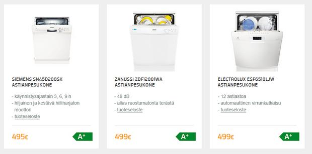 Exempel på visning av länkarna till energimärkningsetiketten och produktbladet