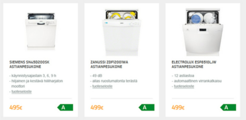 esimerkki energiamerkki verkossa